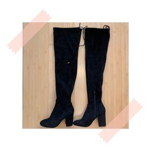 Over The Knee Suede Black High-Heel Boots